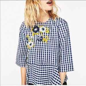 Zara Blue & White Gingham Floral Embroidered Tunic